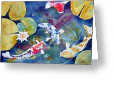 Koi And Waterlily Flower Greeting Card