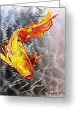 Koi Fish Aluminum Print, Unique Gift For Any Home Or Office. 'the Silver Koi'. Greeting Card