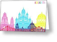 Kolkata Skyline Pop Greeting Card