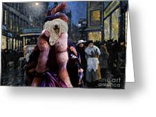 Komondor Art Canvas Print - The Town Night Out Greeting Card