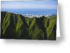 Koolau Mountains And Honolulu Greeting Card