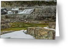 Kootenai Falls In Winter Greeting Card