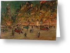 Korovin, Konstantin 1861-1939 Les Grands Boulevards, Paris Greeting Card