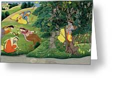 Krishna Fluting The The Milkmaids Greeting Card