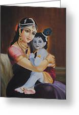 Krishna With Mother Yasoda Greeting Card