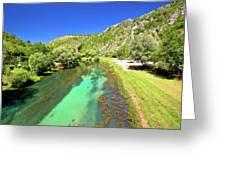 Krka River Below Knin Fortress View Greeting Card