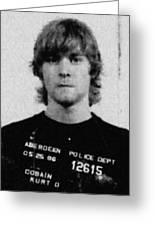 Kurt Cobain Mug Shot Painting Vertical Black And Gray Grey Greeting Card