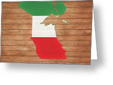 Kuwait Rustic Map On Wood Greeting Card