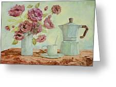 La Caffettiera E I Fiori Amaranto Greeting Card