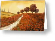 La Collina Dei Papaveri Greeting Card by Guido Borelli
