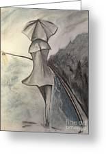 La Femme Au Parapluie Greeting Card