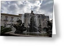 La Fontana Di Diana - Fountain Of Diana Silver Jets And Sky Drama Greeting Card