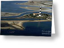 La Gacholle Lighthouse Surrounded With Blue Sea In Camargue Greeting Card by Sami Sarkis