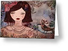 La Jolie Poupee Et L' Oiseau Greeting Card