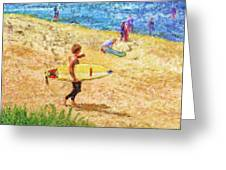La Jolla Surfers Greeting Card by Marilyn Sholin