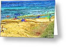 La Jolla Surfing Greeting Card by Marilyn Sholin