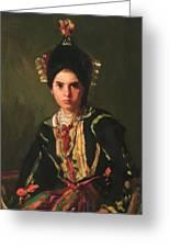 La Montera Segovia Girl In Fiesta Costume 1912 Greeting Card