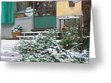 La Neve A Casa Greeting Card by Guido Borelli