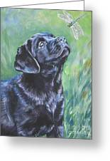 Labrador Retriever Pup And Dragonfly Greeting Card by Lee Ann Shepard