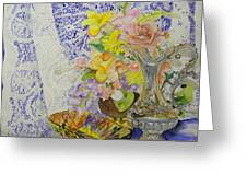 Lace And Flowers Greeting Card