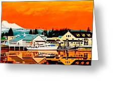 Laconner Last Water Front Panel Painting Greeting Card
