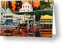 Laconner Waterfront Art Panel Greeting Card
