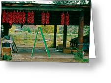 Ladder And Ristras Sopyn's Fruit Stand Rinconada Nm Greeting Card