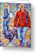 Lady  And Dog Greeting Card