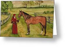 Lady And Horse Greeting Card