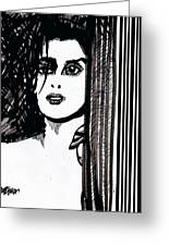Lady At The Door Greeting Card