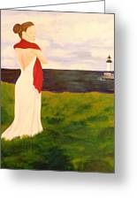 Lady At The Ocean Greeting Card