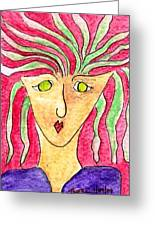 Lady In A Purple Shirt Greeting Card