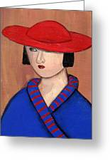 Lady In A Red Hat And Blue Coat Greeting Card