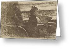 Lady In Black, In A Loge, Facing Right Greeting Card