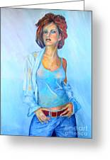 Lady In Blue II Greeting Card