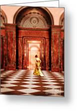 Lady In Golden Gown Walking Through Doorway Greeting Card