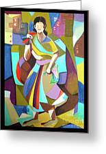 Lady In Mosaic Greeting Card