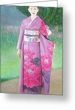 Lady In Purple Kimono Greeting Card