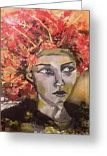 Lady In Red Headdress Greeting Card
