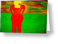 Lady In Red Looking At Sunset Greeting Card