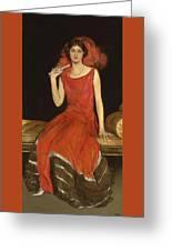 Lady In Red - Mrs Owen Barton Jones Greeting Card