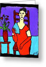 Lady In Red With Fan Greeting Card