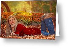 Lady In The Leaves Greeting Card