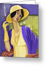 Lady In The Yellow Hat Greeting Card by Sydne Archambault