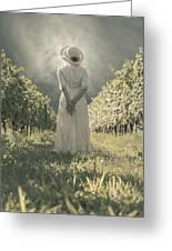 Lady In Vineyard Greeting Card