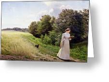 Lady In White Reading  Greeting Card