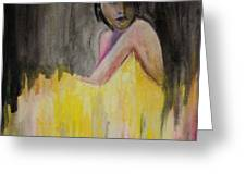 Lady In Yellow  Greeting Card