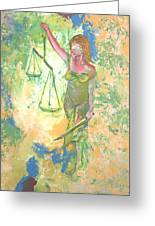 Lady Justice And The Man Greeting Card
