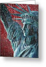 Lady Liberty In The Rain Greeting Card by Alan Schwartz