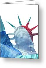 Lady Liberty With French Flag Greeting Card